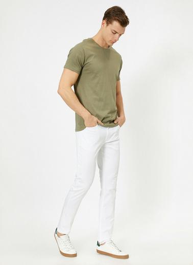 Koton Cep Detayli Slim Fit Pantolon Beyaz